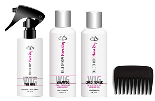 Mara Ray Luxury Hair Care Kits for Synthetic and Human Hair Wigs, Extensions, Toupees with Wide Tooth Comb (3pc Detangler Bundle)