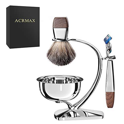 ACRIMAX Deluxe Wet Shaving Kit for Men, 100% Pure Badger Shaving Brush Set, Manual Safety Razor Handle for (Fusion5), Durable Stainless Steel Shaving Brush & Razor Stand with Soap Bowl
