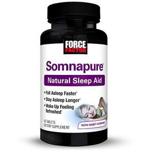 Force Factor Somnapure Natural Sleep Aid With Melatonin, Valerian, & Chamomile, Non-Habit-Forming Sleeping Pill, Fall Asleep & Stay Asleep, 60 Count (Packaging May Vary)