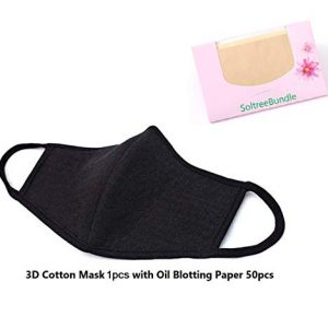 Made in Korea Unisex Kpop Mask 3D Black Cotton Face Mouth Mask BTS EXO Mask + SoltreeBundle Oil Blotting Paper 50pcs