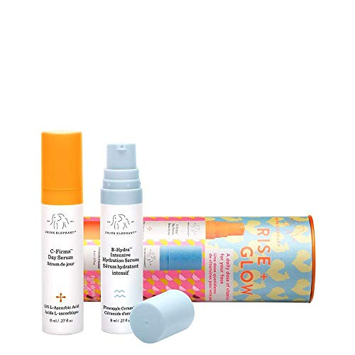 Drunk Elephant Rise + Glow Duo - Morning Skin Care Set. C-Firma Day Serum and B-Hydra Intensive Hydration Gel with Vitamin B5-8 Milliliters Each