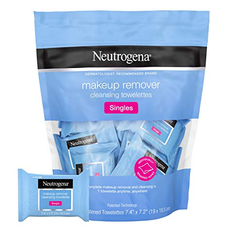 Neutrogena Makeup Remover Cleansing Towelette Singles, Daily Face Wipes to Remove Dirt, Oil, Makeup & Waterproof Mascara, Individually Wrapped, 20 ct
