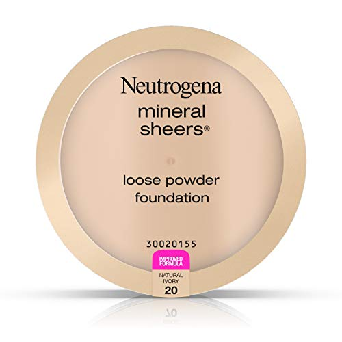 Neutrogena Mineral Sheers Lightweight Loose Powder Makeup Foundation with Vitamins A, C, & E, Sheer to Medium Buildable Coverage, Skin Tone Enhancer, Face Redness Reducer, Natural Ivory 20,.19 oz