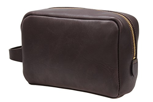 Iblue Leather Toiletry Bag Travel Dopp Kit Shaving Organizer Brown i517 (Dark Brown)