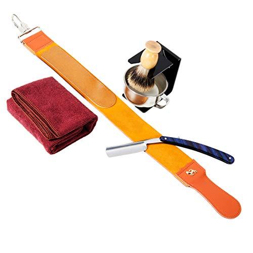 7 Piece Luxury Men Shaving Kit ~ Straight Edge Razor, Leather Canvas Strop, Barber Brush, Razor Stand, Shaving Mug Bowl/Soap/Towel
