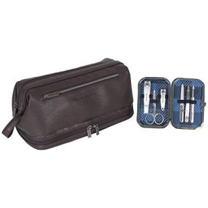 Ben Sherman 2-Piece Toiletry 6-PC Manicure Set-Pebbled Faux Leather Drop Bottom Travel Dopp Grooming Kit, Brown