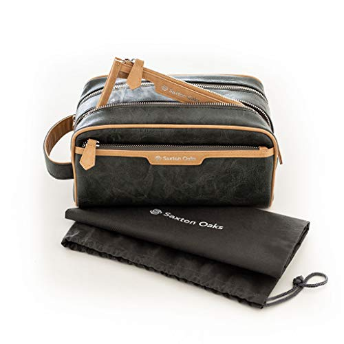 Premium Men's 3 in 1 Toiletry Bag Organizer Set - Stylish Leather Dopp Kit for Shaving and Grooming Supplies - Unisex Cosmetics Pouch - Portable Travel Accessories for Men & Women – Olive Green + Tan