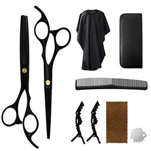 Vanelc Hair Cutting Scissors Set, Professional Haircut Shears with Thinning Scissors Black Hairdressing Kit for Barber, Salon, Home (9pcs, Black)