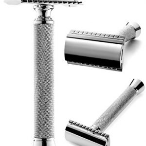 Perfecto Professional Double Edge (DE) Safety Razor for Men. Long Handle for Comfortable Wet Shaving|Stylish Luxury Chrome Finish|Enjoy The Closest Shave with Zero Irritation. Perfect Gift for Him