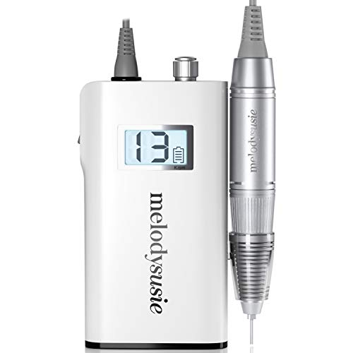 MelodySusie Professional Rechargeable 30000 rpm Nail Drill, Portable E-File with Long Life Battery, Electric Grinder Tool for Acrylic Nail Natural Extension Poly Nail Gel, High Speed, Low Heat