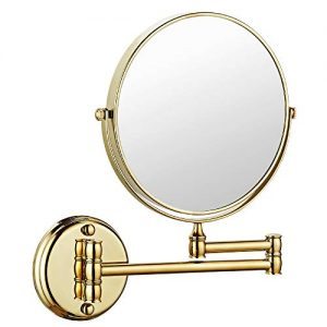 MARMOLUX ACC Makeup Mirror Wall Mount 8 Inch Dual Side with 1x/5x Magnification Bathroom Magnifying Mirror Two Side 360 Swivel Cosmetic Face Mirror Extendable Vanity Mirrors Luxury Brass Gold