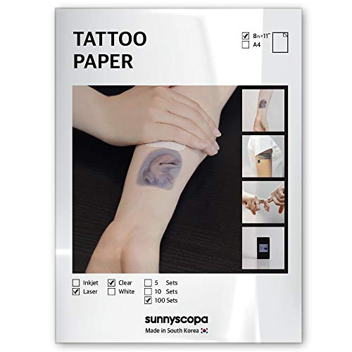 """Sunnyscopa Printable Temporary Tattoo Paper for LASER Printer - US LETTER SIZE 8.5""""X11"""", 100 SHEETS - DIY Personalized Image Transfer Sheet for skin - Custom Waterslide Decal Stencil Henna"""