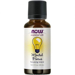 NOW Essential Oils, Mental Focus Oil Blend, Centering Aromatherapy Scent, Blend of Pure Essential Oils, Vegan, Child Resistant Cap, 1-Ounce