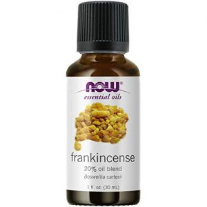 NOW Essential Oils, Frankincense Oil Blend, 20% Blend of Pure Frankincense Oil in Pure Jojoba Oil, Centering Aromatherapy Scent, Steam Distilled, Vegan, Child Resistant Cap, 1-Ounce