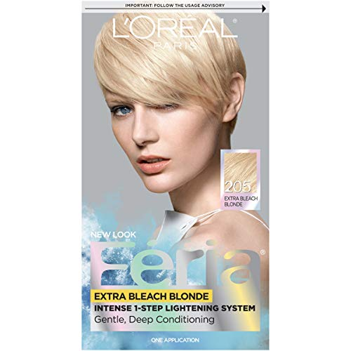 L'Oreal Paris Feria Multi-Faceted Shimmering Permanent Hair Color, 205 Bleach Blonding (Extra Bleach Blonde), 1 Count kit Hair Dye