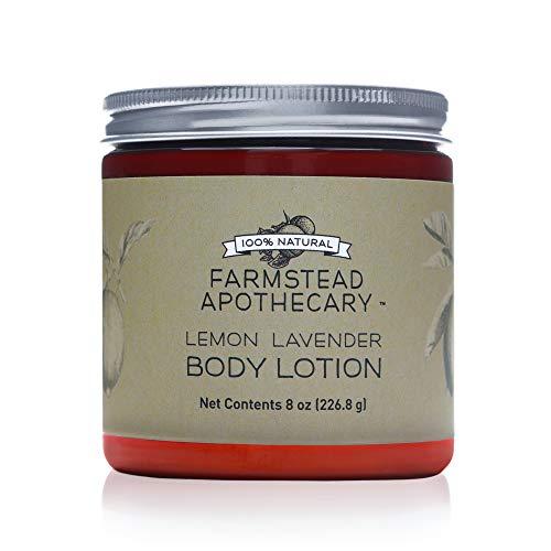 Farmstead Apothecary 100% Natural Body Lotion with Organic Safflower Oil, Organic Sunflower Oil & Organic Vitamin E Oil, 8 oz (Lemon Lavender)