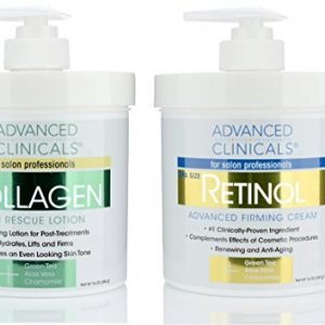 Advanced Clinicals Retinol Cream and Collagen Cream Skin Care set. Value anti-aging set for wrinkles, fine lines, firming skin. 16oz Spa size are great for face cream and body moisturizer.
