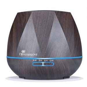 Diffuserlove Ultrasonic Cool Mist Essential Oil Diffuser 550ml Dark Wood Grain Aromatherapy Diffusers and Air Humidifiers Set Waterless Auto Shut-Off for Home Yoga Office Kitchen