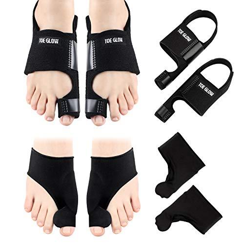 Bunion Corrector & Bunion Relief Protector Sleeves Kit - 4 Pieces Bunion Splints Big Toe Straightener for Hallux Valgus Aid Surgery (Black + Black, L(Women Size 7.5-11/Men Size 6-10))