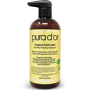 PURA D'OR Original Gold Label Anti-Thinning Shampoo Clinically Tested, Infused w/ BIOTIN, Argan Oil & Natural DHT Ingredients, Sulfate Free, All Hair Types, Men & Women, 16 Fl Oz (Packaging Varies)