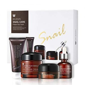 Mizon Korean Skin Care Gift Set: All in One Snail Repair Cream (75ml), Snail Repairing Foam Cleanser (60ml), Snail Repair Intensive Ampoule (30ml), Snail Repair Eye Cream (25ml) Facial Moisturizer Set