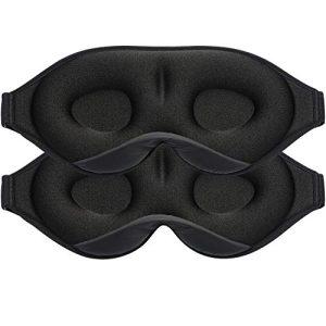 2Pack Upgraded Sleep Eye Mask for Women Men, Soft Lycra Material Eye mask for Sleeping 3D Contoured Cup Sleep Mask & Blindfold,100% Black Out Light Sleeping Mask for Travel, Nap, Yoga(Black and Grey)