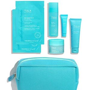 TULA Probiotic Skin Care Anti Aging Discovery Kit | Face Wash, Eye Serum, Face Serum, Treatment Pads, and Face Moisturizer for Glowing and Balanced Skin