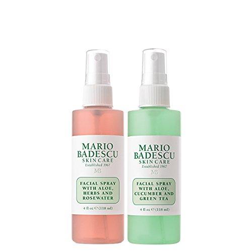 Mario Badescu Facial Spray Herbs/Rosewater and Cucumber/Green Tea, 4 Fl Oz (Pack of 2)