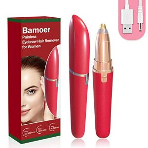 [2020 Newest] Eyebrow Hair Remover, Electric Eyebrow Trimmer Epilator for Women, Portable Painless Eyebrow Razor with Light and USB Charge (Red)
