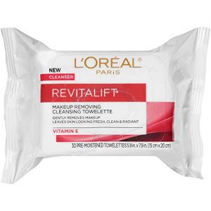 Gentle Makeup Remover, L'Oreal Paris Revitalift Makeup Removing Wipes with Vitamin E, Face Cleansing Towelettes, Removes Dirt, Sweat and Makeup, 30 Count