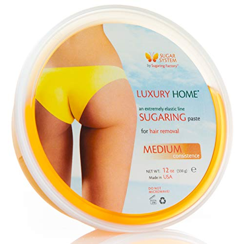 "Sugaring Paste""Luxury HOME"" – MEDIUM all purpose paste - Organic Hair Removal for women - Sugar Wax hair remover facial gel NEW DESIGN same product"