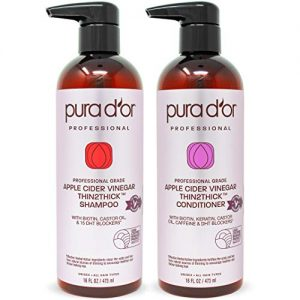 PURA D'OR Apple Cider Vinegar Thin2Thick Set Shampoo & Deep Conditioner (2 x 16oz) Biotin, Keratin, Caffeine, Castor Oil, Sulfate Free, Natural Ingredients, All Hair Types, Men-Women (Packaging vary)