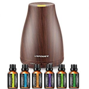 URPOWER Classical Essential Oil Diffuser with 6 Bottles 100% Pure Essential Oils, Gift Set Aroma Cool Mist Humidifier Aromatherapy Oil Diffuser Essential Oils for Home and Office
