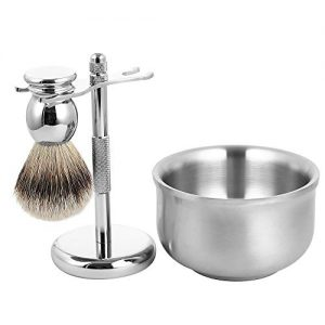 Men's Luxury Wet Shaving Grooming Set, 100% Silvertip Badger Hair Shave Brush, Razor Stand, Soap Bowl