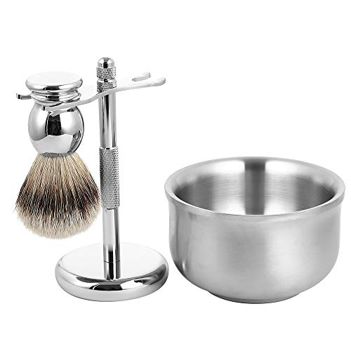 Men's Luxury Wet Shaving Grooming Set, 100% Silvertip Badger Hair Shave Brush, Razor Stand, Soap Bowl