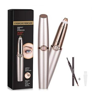Eyebrow Hair Remover, Electric Eyebrow Trimmer Epilator for Women, Portable Painless Eyebrow Razor with Light, Rose Gold