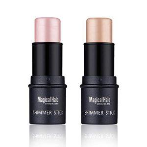 2pcs Highlight Stick Shimmer Cream Powder Foundation Highlighter Stick Waterproof Highlighter for Face Makeup Skin Care