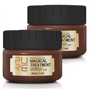 Magical Hair Treatment Mask, Advanced Molecular Hair Roots Treatment Professional Deep Hair Conditioner, Restore Soft Hair, Moisturizing and Repairing Dry & Damaged & Colored Hair (2×60ML)