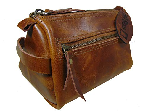 Hell Blues Genuine Buffalo Leather Toiletry Bag,Unisex Travel Dopp Kit with YKK metal zippers (Rich caramel)