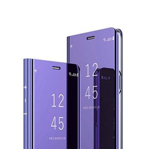 ISADENSER Samsung Galaxy Note 5 Case for Women Luxury Design View Flip Plating Mirror Makeup Glitter Slim Shockproof Full 360 Body Protective Case for Samsung Galaxy Note 5 Mirror Purple