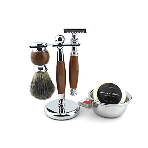 Shaving Gift Kit for Men,Yunlep Luxury Grooming Wet Shaving Set Including Razor with 10 Replacement Blades,Chrome Stand,Bowl,Shaving Soap,Shaving Brush (Agate Color)