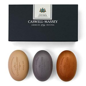Caswell-Massey Triple Milled Luxury Bath Soap Men's Sandalwood Explorer Soap Set – 3 Assorted Fragrances – 5.8 Ounces Each, 3 Bars