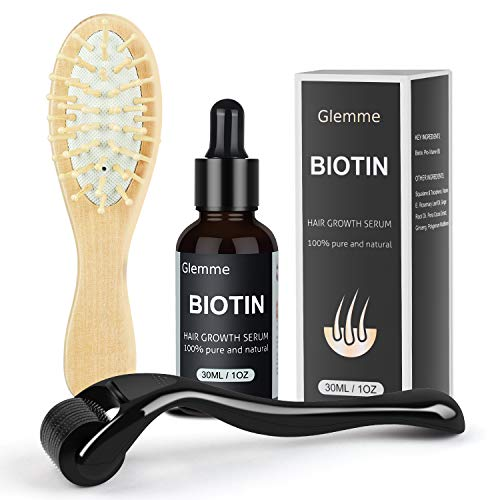 Biotin Hair Growth Products Kit, Microneedle Derma Roller for Scalp Hair Regrowth Men and Women, Best Hair Loss Treatment