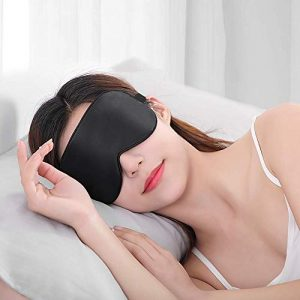 Natural Silk Eye Mask for Sleeping, Super Smooth Sleeping Mask for Women and Men-Fully Adjustable Strap-A001