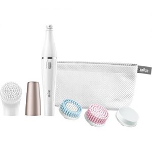 Braun Face 851 Women's Miniature Epilator, Electric Hair Removal, with 4 Facial Cleansing Brushes and Beauty Pouch