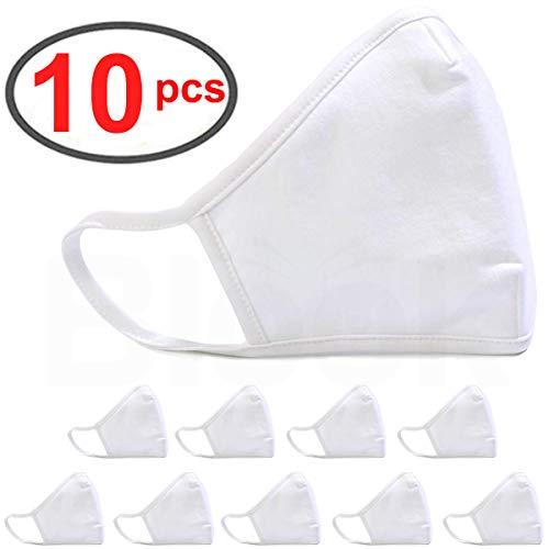 BLOOK 100% Cotton Fashion Protective Face Anti-dust Mouth Face Bandana Balaclavas, 2-Layer Unisex Reusable Fashion Washable (Pack 10 - White)