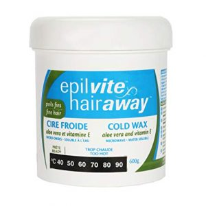 Epil-Vite/Hair Away - Cold Wax Aloe Vera and Vitamin E, for Fine Hair, 600 grams
