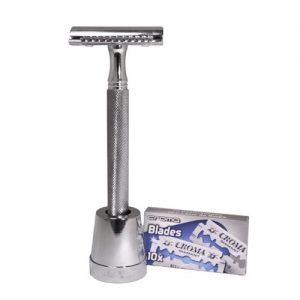Ultimate 3 Piece Double Edge Safety Razor by Luxury Barber Best Wet Shaving Razor