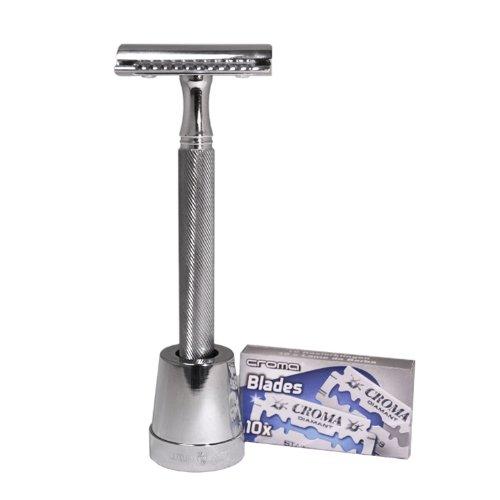 Ultimate 3 Piece Double Edge Safety Razor by Luxury Barber Best Wet Shaving Razor