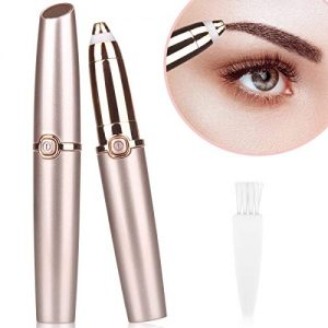 Eyebrow Hair Remover, Eyebrow Painless hair Trimmer Epilator for Women Men, Lipstick-Sized Eye brow Epilator, Portable Lips Nose Facial Portable Eyebrow Razo with LED Light (Rose Gold)